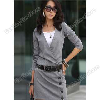 Womens Casual Lapel Opening Neck Long Sleeve Dress #089