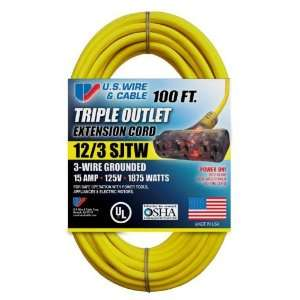 US Wire 76100 12/3 100 Foot SJTW Yellow Heavy Duty Extension Cord with