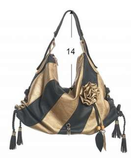 Bronze Gold Stripe Faux Leather Handbag Purse Hobo Bag