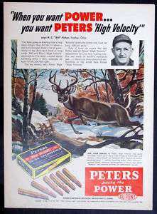 1953 PETERS .30 06 Springfield Rifle Cartridge magazine Ad hunt big