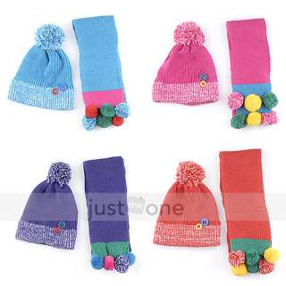 Baby Children Kids Boy Girl Warm Woolen Hat Beanie Cap + Long Scarf
