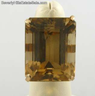 Extremely Large Art Deco 18K Gold Topaz Ring