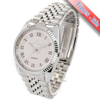 Face Quartz Mens Watch Stainless/S Band Light Rome Num Gift