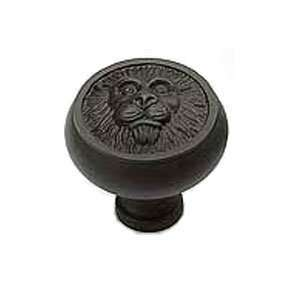 03 Polished Brass Cabinet Hardware 1 1/4 Dia. Lion Head Cabinet Knob
