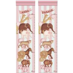 Mod Animal Parade Personalized Growth Chart   Pink