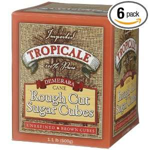 Tropicale Demerara Cane Rough Cut Sugar Cubes, 1.1 Pound Boxes (Pack