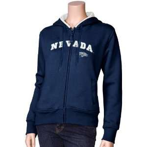 Nevada Wolf Pack Navy Blue Ladies Aerial Full Zip Hoody Sweatshirt