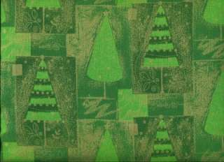 GREEN MET GOLD CHRISTMAS TREE PATCH Cotton Quilt Fabric
