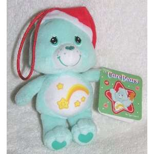 2005 Care Bears 5 Plush Wish Bear with Santa Hat Ornament