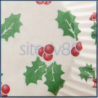 100Pcs XMAS Cupcake Cake Candy Food Tart Case Baking Liner Paper Cups