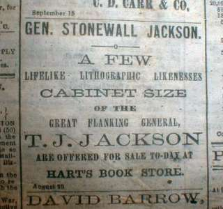 1864 Confederate Civil War newspaper w STONEWALL JACKSON lithographs