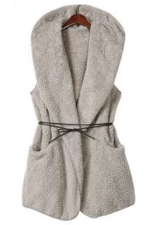 Faux Fur Pocket Hooded Vest Coat with Belt Gray Black S M #TNR