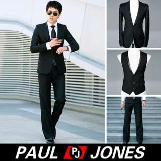 Mens Fashion COOL Slim Fit One Button Suit 3pcs NEW