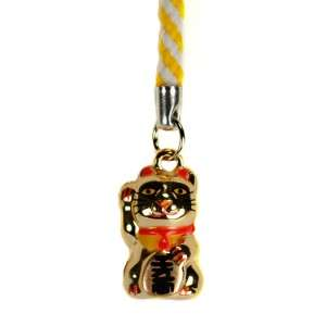 GOLD MANEKI NEKO BELL CHARM Lucky Beckoning Cat Kitty Cell Phone Strap