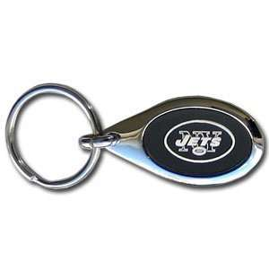 New York Jets Black Oval Key Chain   NFL Football Fan Shop Sports Team