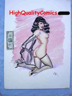 Title of Original BETTIE PAGE Original gouache (watercolor/study