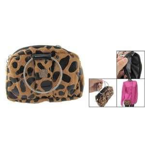 Rosallini Travel Brown Black Leopard Print Cosmetic Bag Holder Beauty