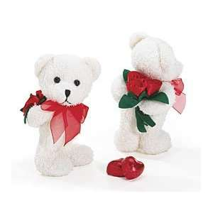 Cute White 7 Teddy Bear Plush Holding a Valentines Red
