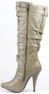 Taupe Gray High Heel Platform Tall Knee Boot 8 us Anne Michelle Chaos
