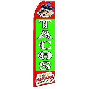 Tacos Extra Wide Swooper Feather Business Flag Office