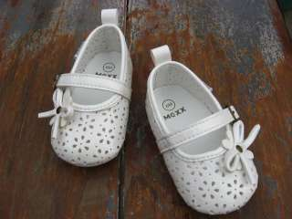 Baby Girl White Mary Jane Bow Dress Shoes Newborn Crib Sandals US Size