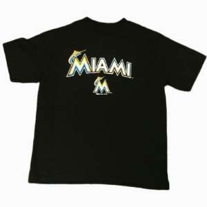 MLB New Logo Florida Miami Marlins Black T Shirt Small SM