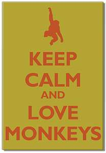 KEEP CALM and love monkeys funny fridge magnet
