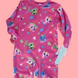 Girls Fleece Kitty Cat Blanket Sleeper pajamas PJS 4 6X