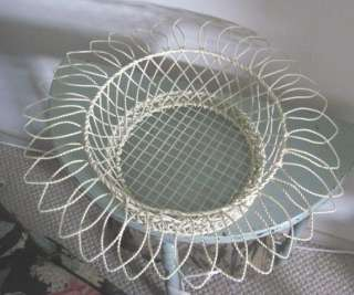RACHEL ASHWELL Shabby Chic Large PETAL Shaped CREAM Metal/TOLE BASKET