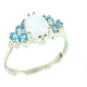 Ladies Contemporary Solid White Gold Natural Opal & Blue