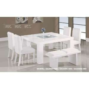 Furniture Contemporary White Wood Middle Frosted Glass Dining Table