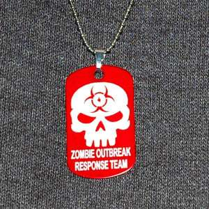 ZOMBIE OUTBREAK RESPONSE TEAM   Dog Tag Red Necklace