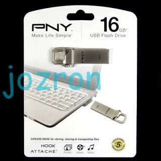PNY Hook 16GB 16G USB Flash Pen Drive Disk Stick Metal