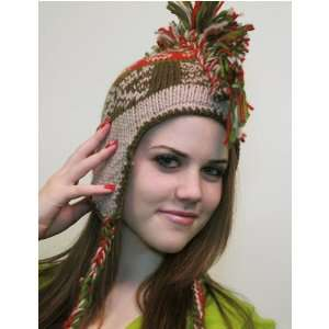 Mohawk Hat Beige & Brown & Red w/ Indian Design