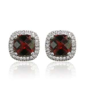 Effy Jewelers Effy 14K White Gold Garnet Diamond Earrings