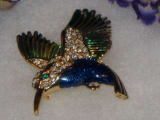 ENAMEL CLEAR RHINESTONE HUMMINGBIRD BROOCH/PIN 60S 70S PRETTY