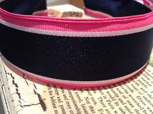 PREPPY NAVY, HOT PINK AND WHITE STRIPE GROSGRAIN RIBBON HEADBAND 1.5