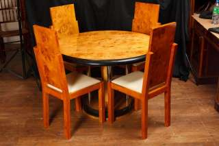 Art Deco Walnut Dining Table Chair Set Vintage Modernist