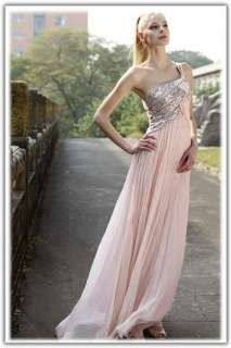 Evening Gown Pleated Ball Party Club Prom Dress Pink