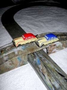 MARX Toys  2 WIND UP TIN Cars & Figure 8 RACEWAY Marbled Plastic Track