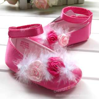 New Toddler baby girls Princess red Rose flower Dance shoes Size:US