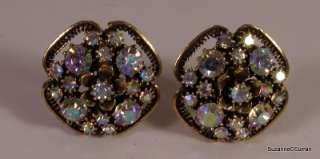 Vintage FLORENZA Flower Clip Earrings with Aurora Borealis Rhinestone