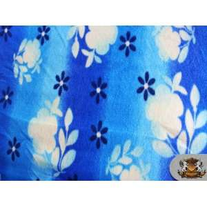 Fleece Printed FLORAL SILHOUETTE BLUE Fabric sold by the