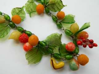 ART DECO CZECH Blown Art Glass Bead FRUIT SALAD Necklace~1930s