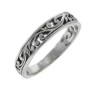 Ornate Scroll Sterling Silver Thumb Stacking Ring Sizes 5   10