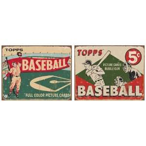Nostalgic Topps Baseball Tin Metal Sign Bundle   2 retro signs Topps