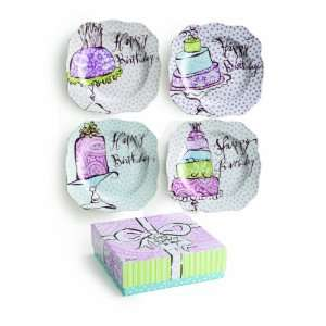 Rosanna Happy Birthday Dessert Plates, Set of 4 Kitchen