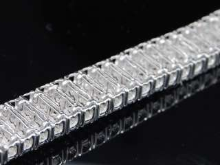 MENS WHITE GOLD FINISH FANOOK DIAMOND 2 ROW LINK TENNIS BRACELET 1.00