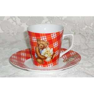 Red checkered teddy bear  porcelain cup & saucer set for