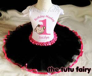 Mod Monkey Birthday Girl Personalized Shirt & black pink tutu set